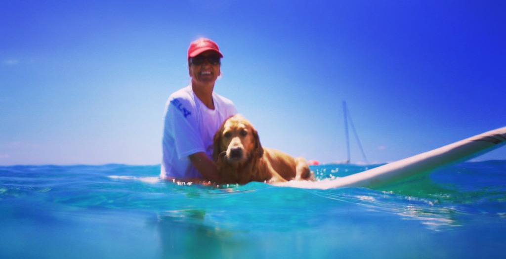 Suzy and Coco on a surf board
