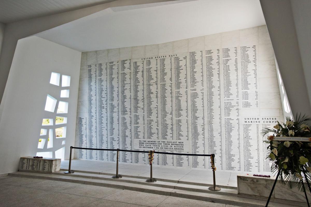 pearl harbor memorial wall