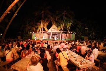 Germaine's Luau seating and stage