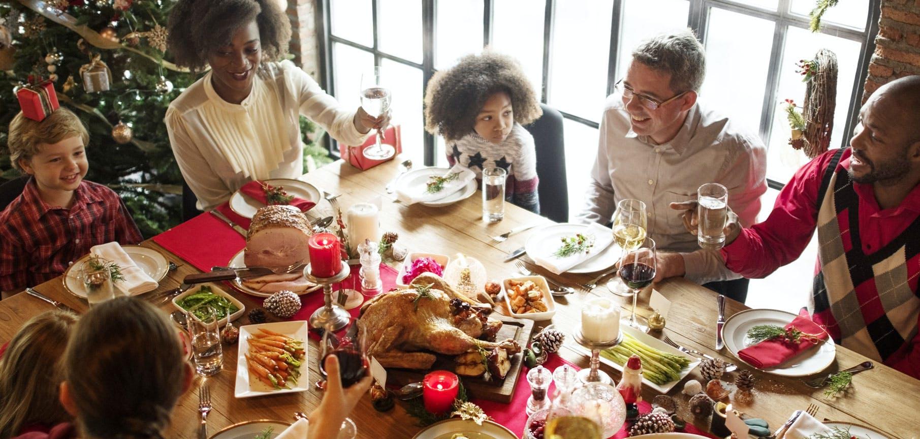 large family having Christmas Dinner