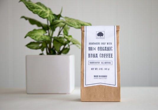 handcrafted Kona coffee soaps