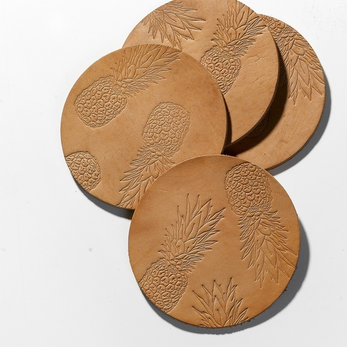 LEATHER PINEAPPLE COASTERS