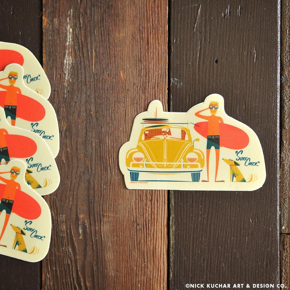 """Surf Check"" Sticker a custom designed by artist Nick Kuchar"