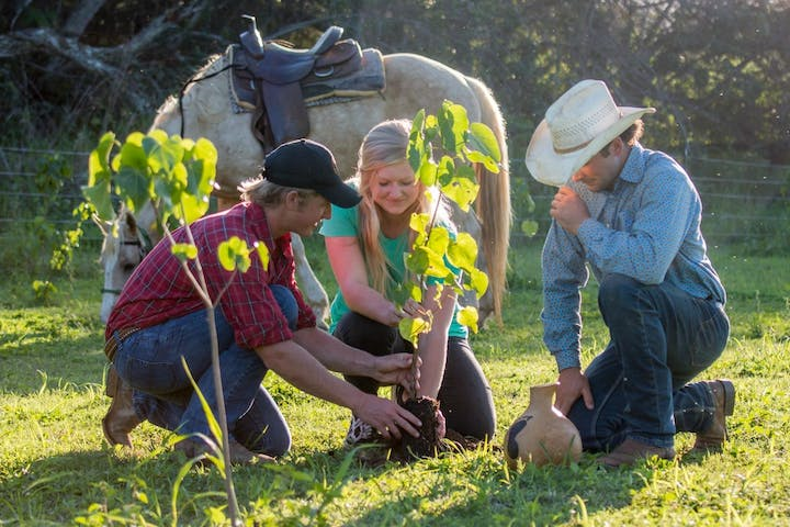 man, woman, and cowboy planting a new legacy forest tree