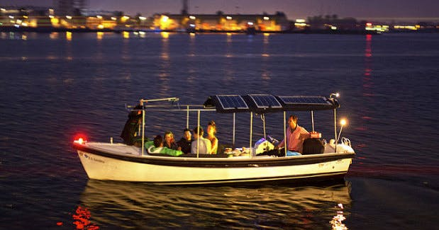 Perfect for your romantic getaway is a boat tour on this boat