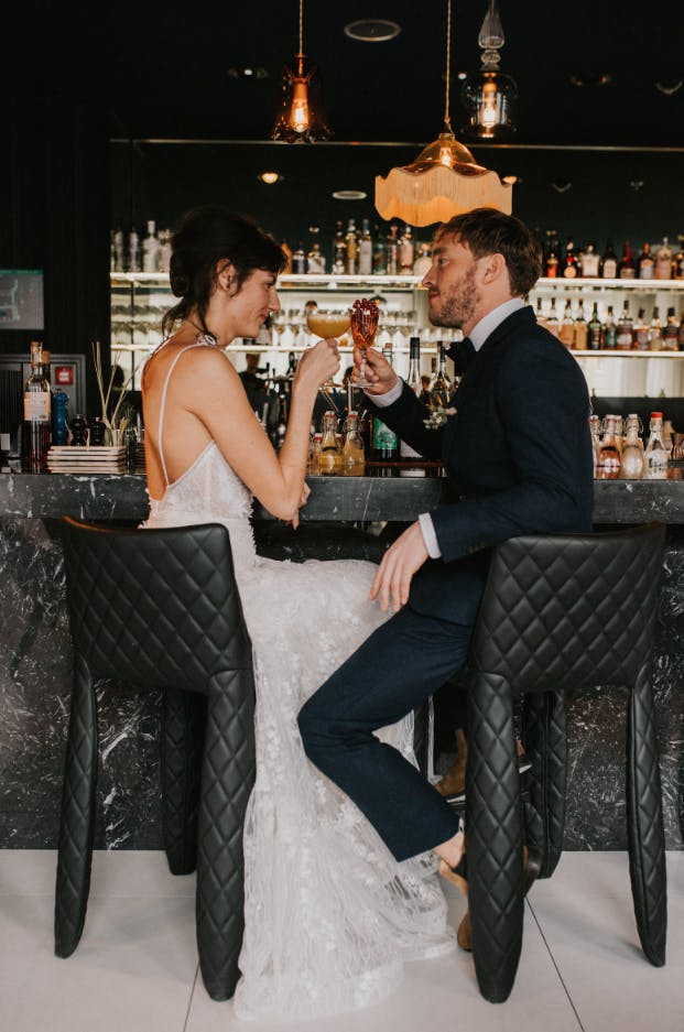 Perfect for your romantic getaweay, drinking a cocktail in the Andaz hotel like this couple