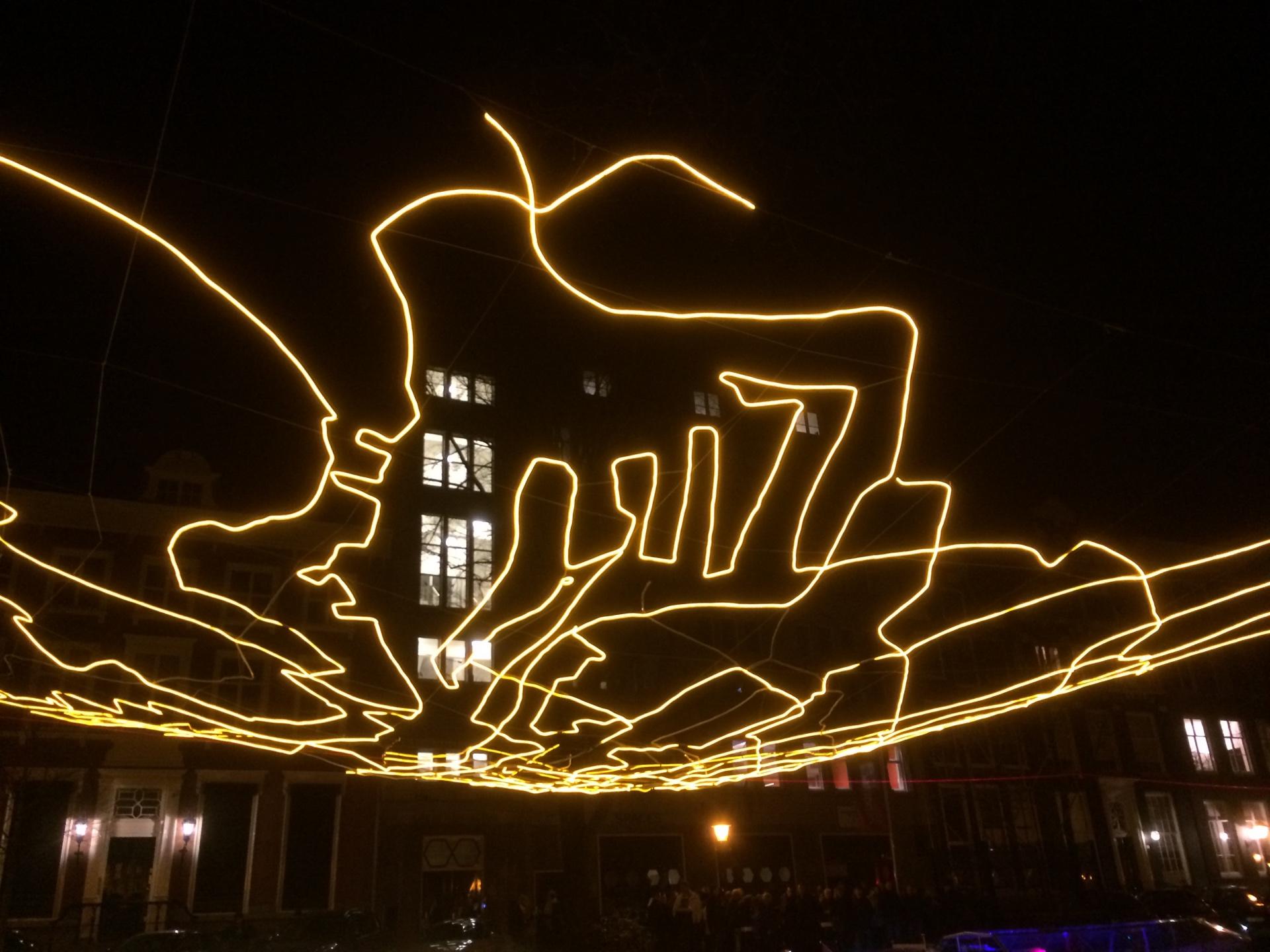An illuminated artwork of the Amsterdam Light Festival