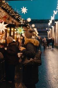 Woman at an Amsterdam Christmas market