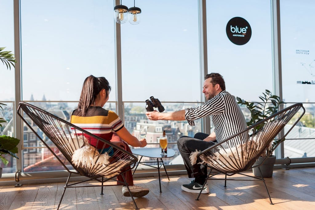View from Blue Amsterdam 360 degree view great place to have a drink during your romantic trip to amsterdam