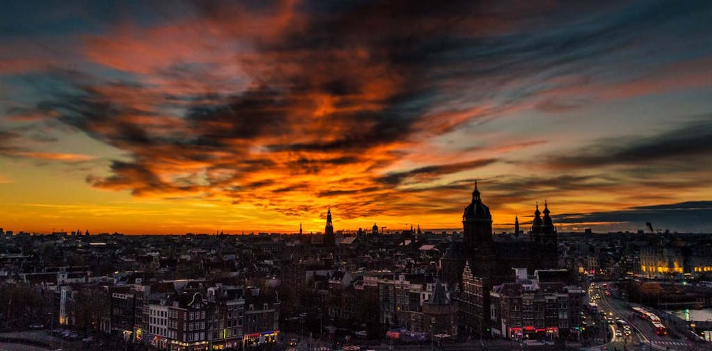 A great view from the SKylounge a great place to end your day during your Romantic trip to Amsterdam