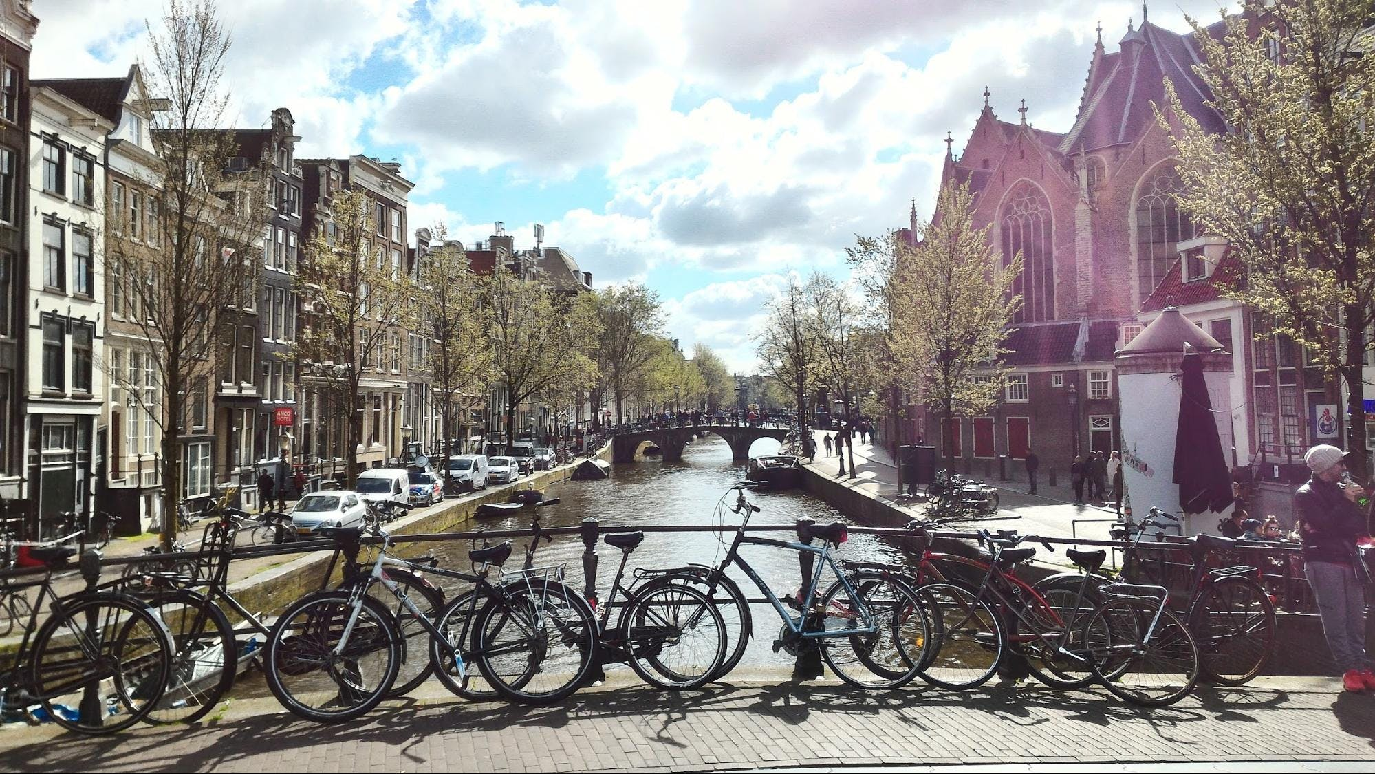 Bikes on bridge over canal in Amsterdam