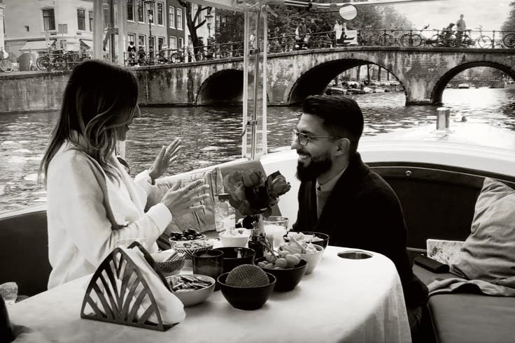 Proposal in Amsterdam on a private boat tour