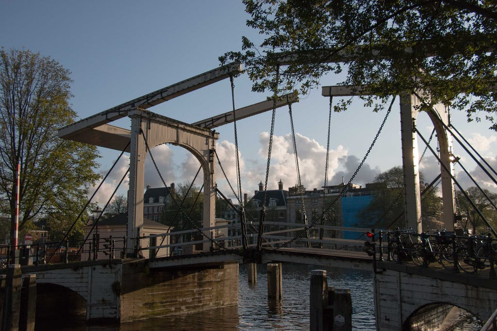 A authentic wooden bridge in Amsterdam. one of the many places to propose in Amsterdam