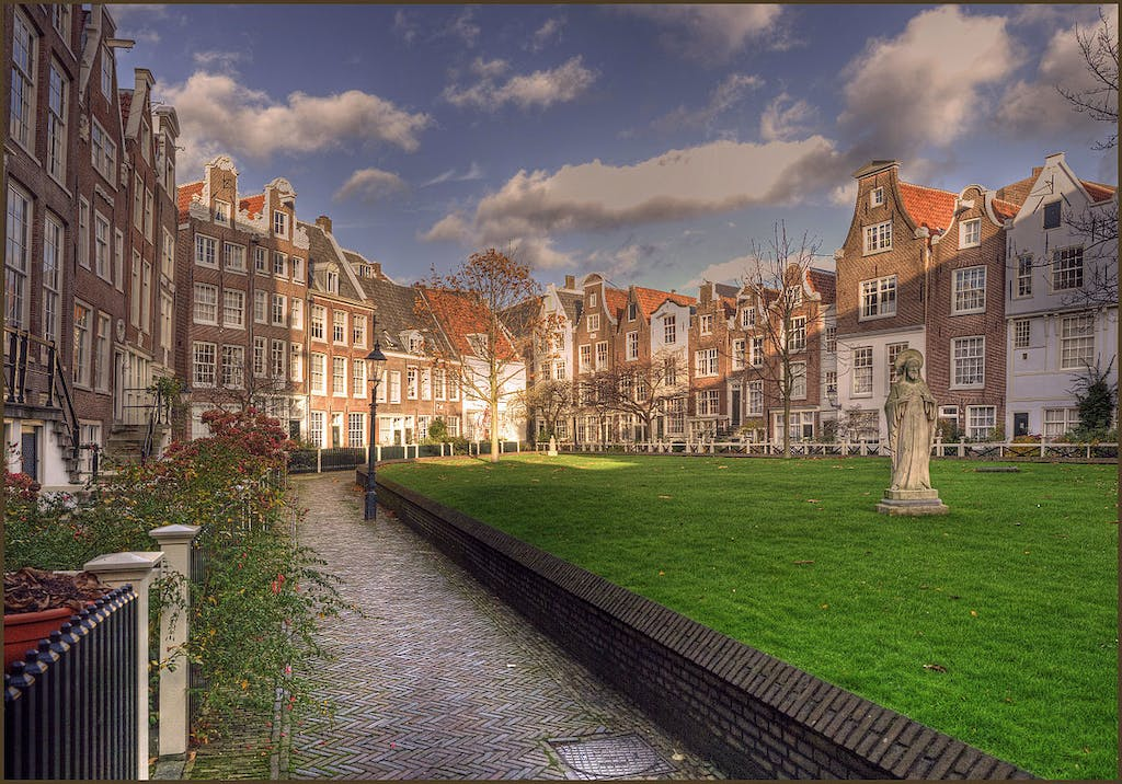 Courtyard with flowers and green grass with dutch houses in amsterdam