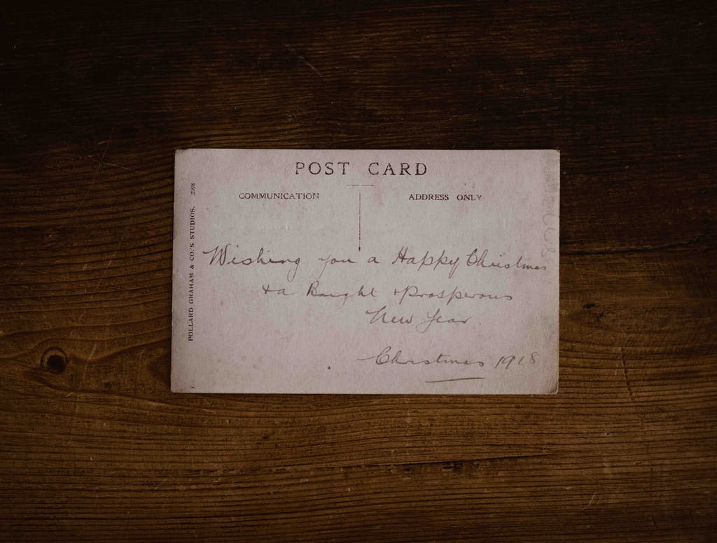 A post card written by hand many years ago, 1918