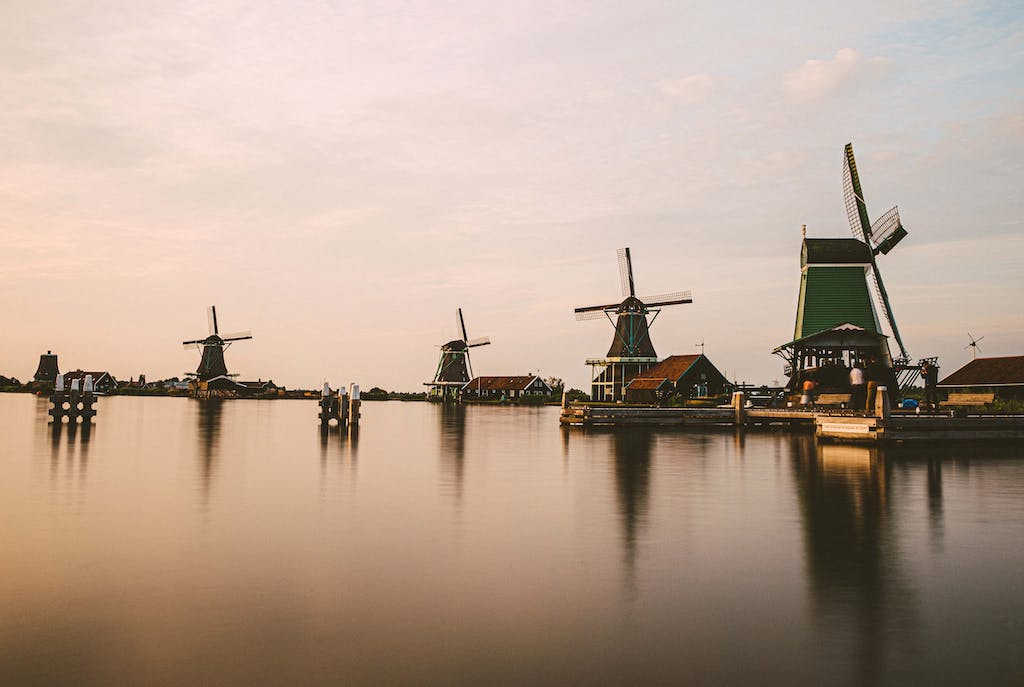 Dutch Windmills and houses in a small town in Netherlands, Zaanse Schans