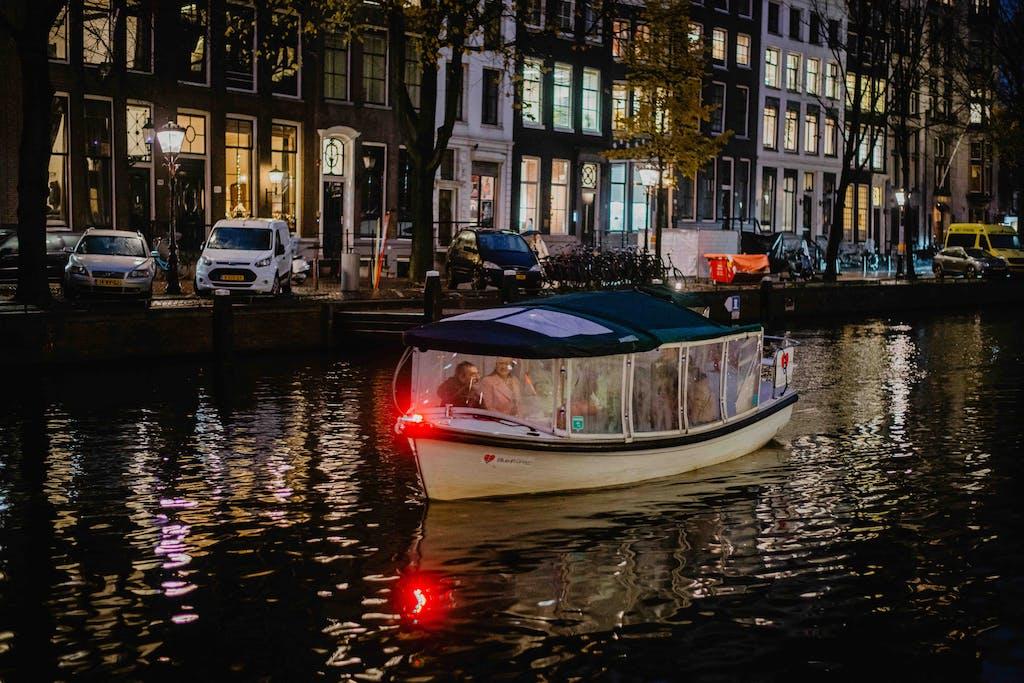 romantic boat in Amsterdam