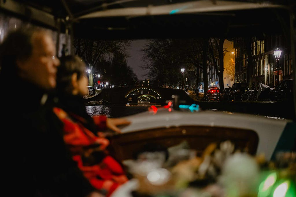 evening tour on the canals of Amsterdam