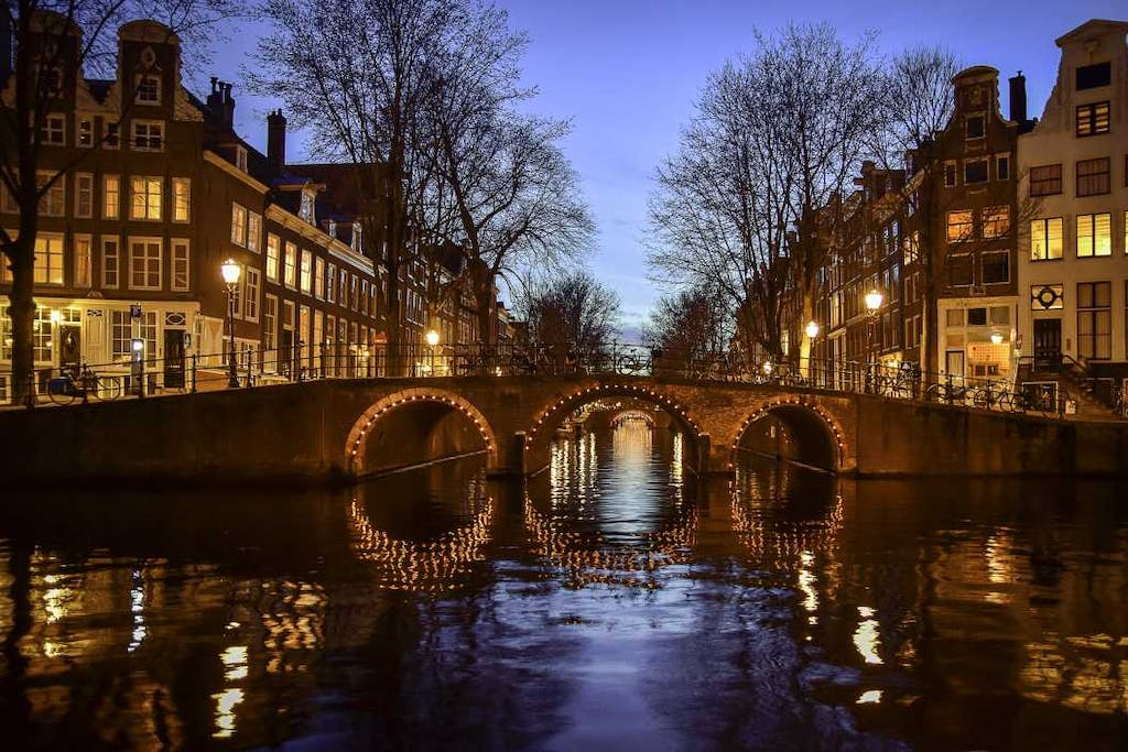 Amsterdam canal tour in the night