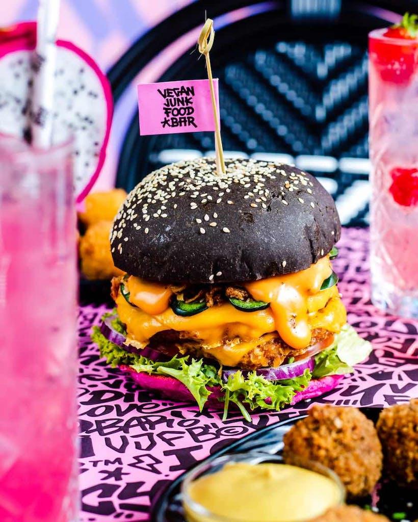 burger from vegan junk food restaurant
