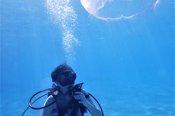 Diver getting close to a jelly fish