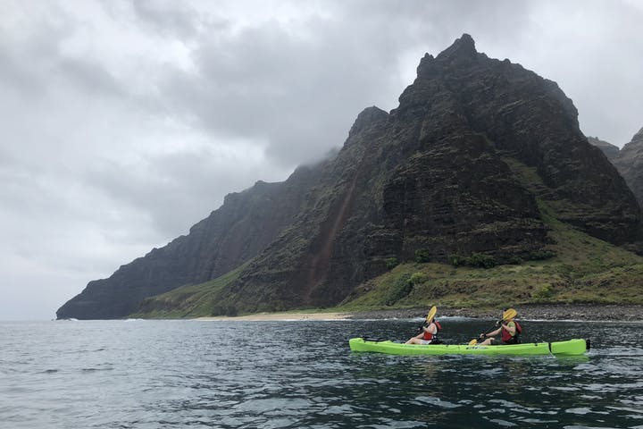 Kayaking along the Na Pali Coast in Kauai