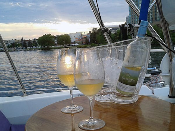 Wine glasses on cruise