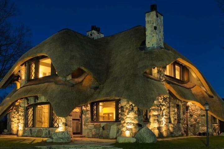Mushroom House at night lit up