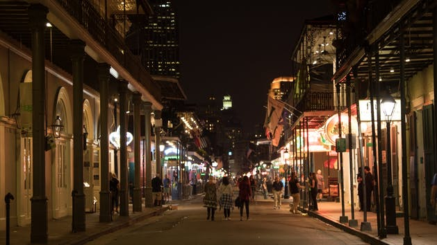 New Orleans Street Scene at Night