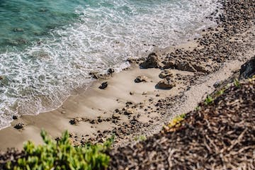 Shore line with rocks and waves crashing the beach