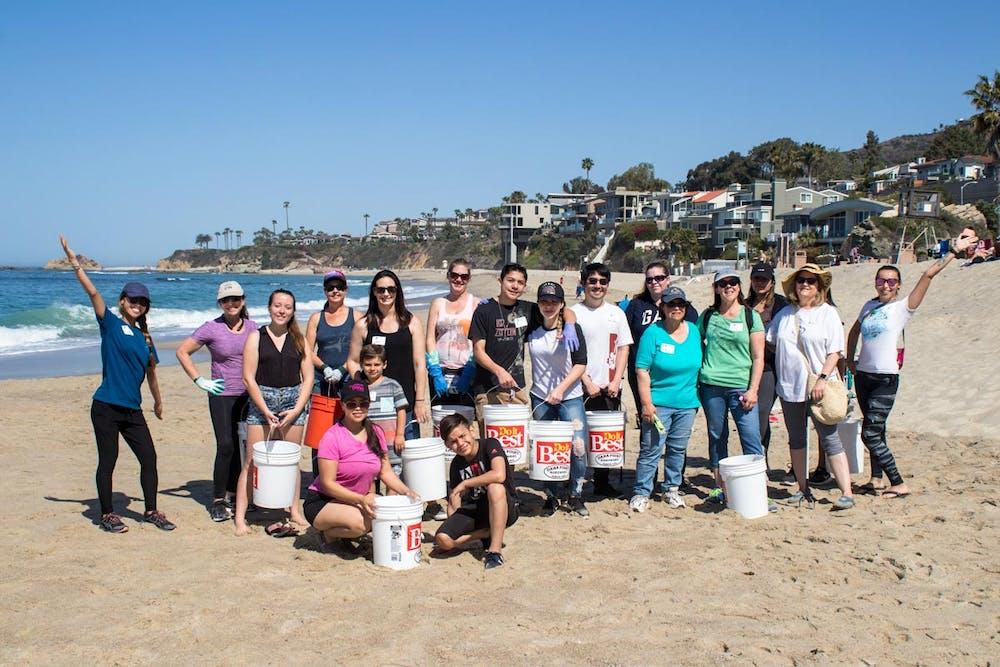 Volunteers at beach clean-up at Aliso Creek