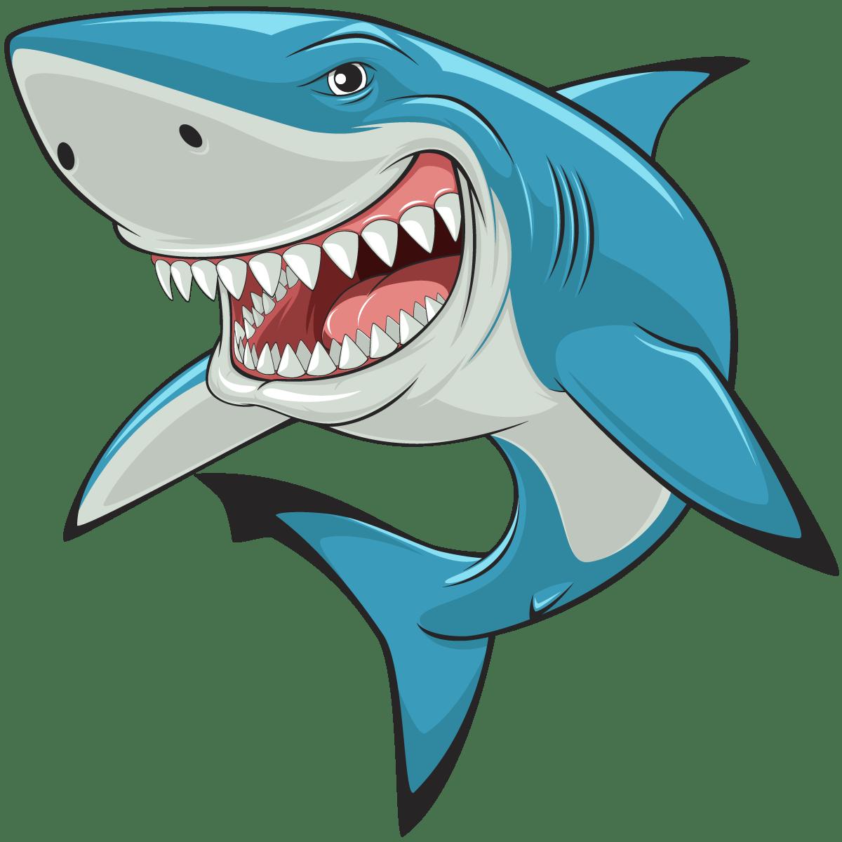 Cartoon of grinning shark