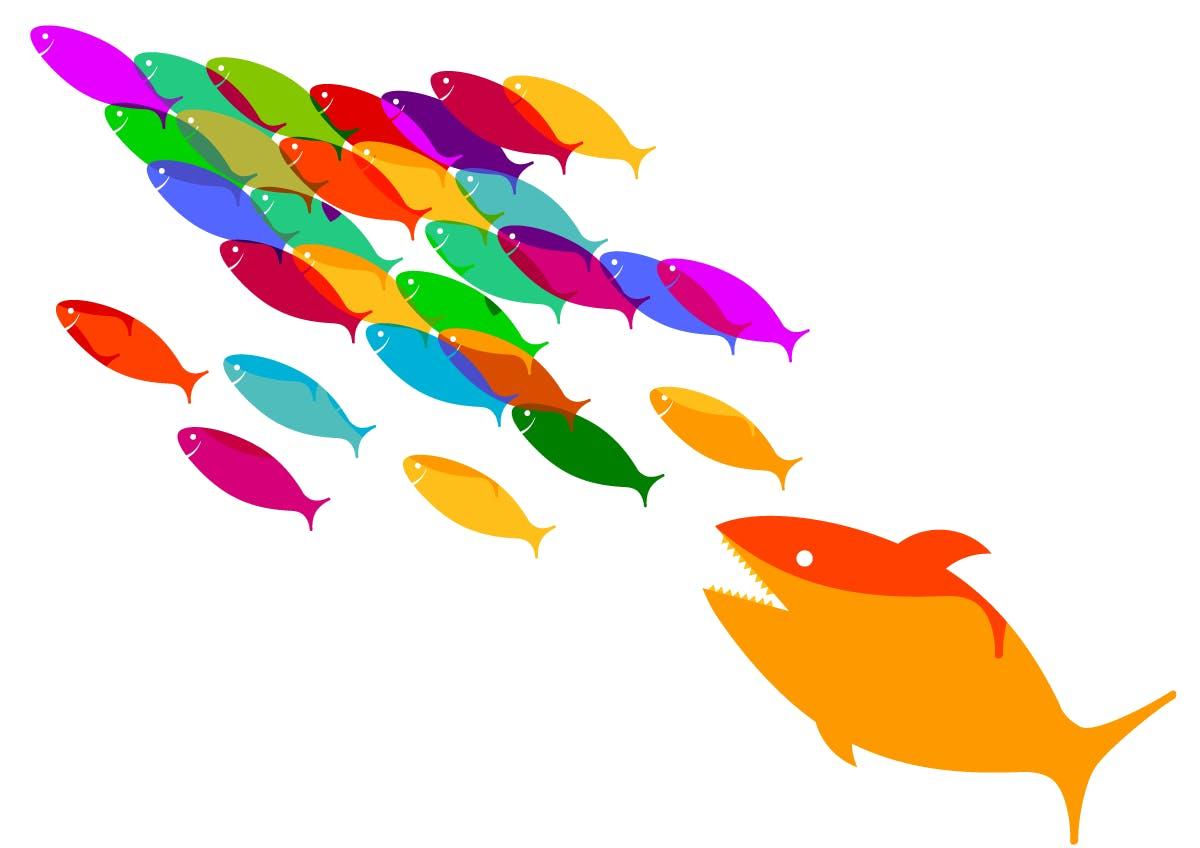 School of small fish escaping large predator fish cartoon