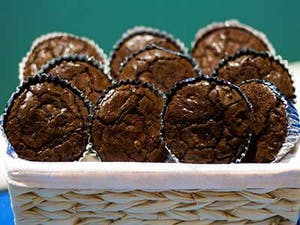 A basket of Mrs Capt Dave's Triple Fudge Brownies