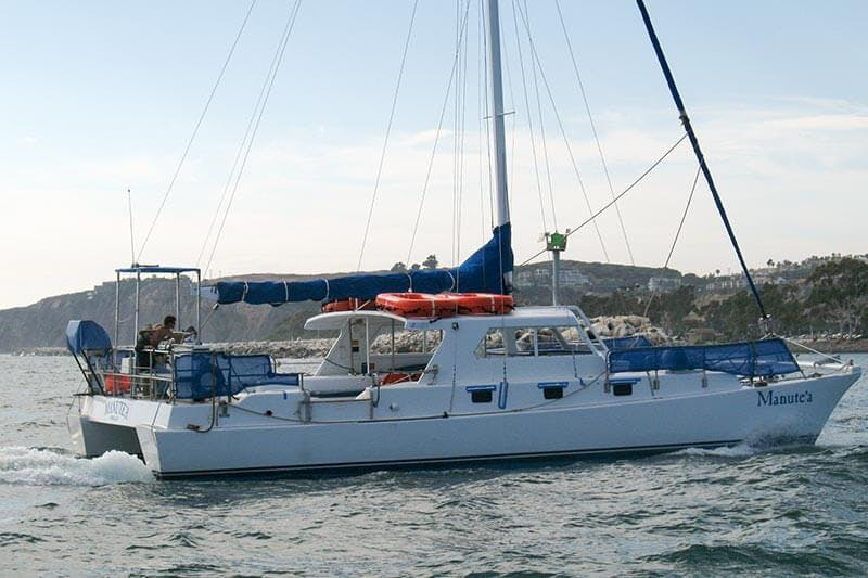 Whale watching vessel Manute'a arriving at Dana Point Harbor for first time