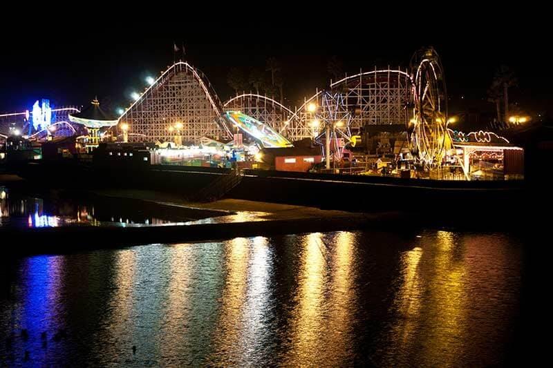 Santa Cruz boardwalk and amusement park at night