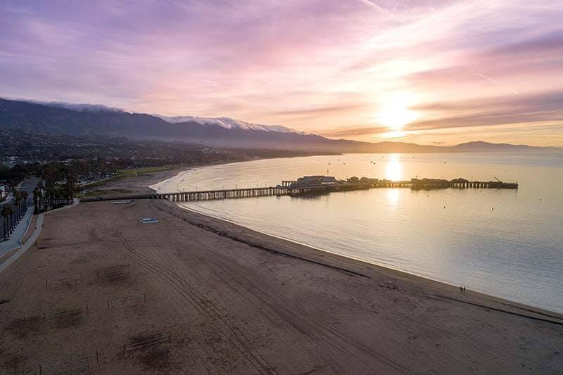 Drone view of beach at sunrise near Santa Barbara, California