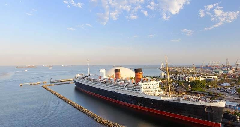 RMS Queen Mary docked at port in Long Beach, California