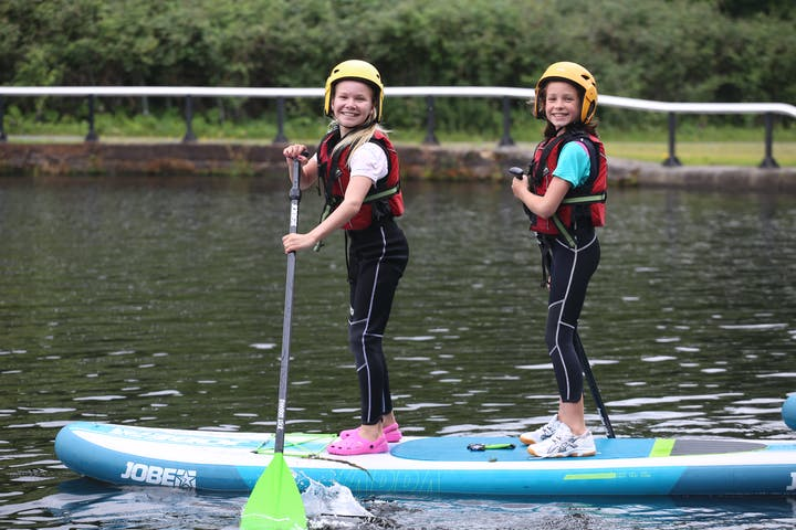 Two kids on a Stand up Paddle Board