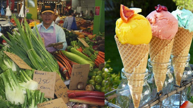 Fresh vegetables & tropical ice cream