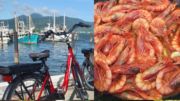 An e-bike and bucket of shrimp