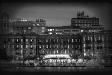 Black and white photo of square buildings