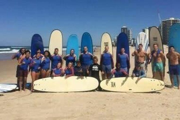 Team Building Surfing Lesson at Burleigh Australia