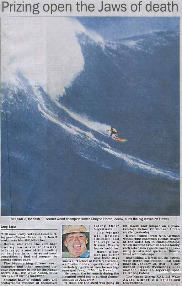 Click here to NEWSPAPER ARTICLE ON BIG WAVES