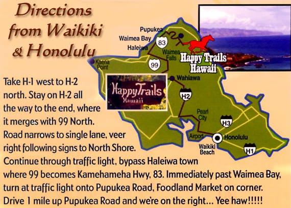 Directions to Happy Trails Hawaii from Waikiki & Honolulu