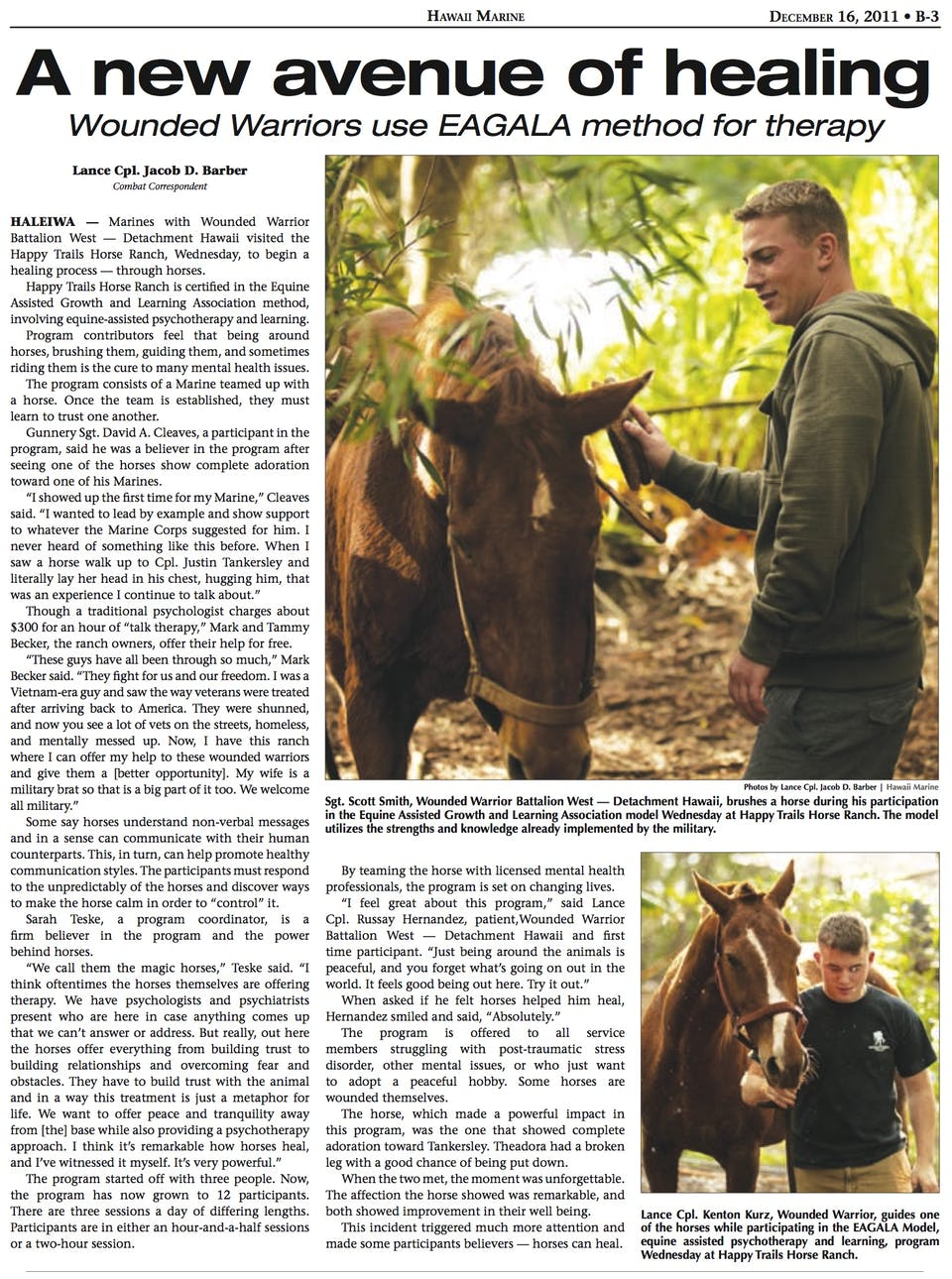 Hawaii Marine article about Happy Trails