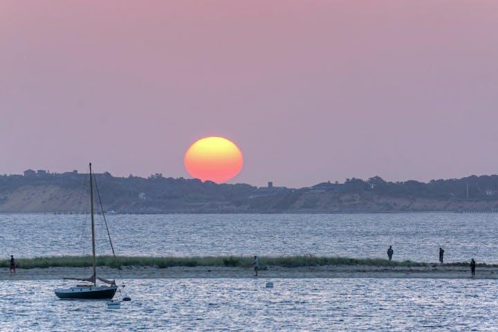 sunset over harbor