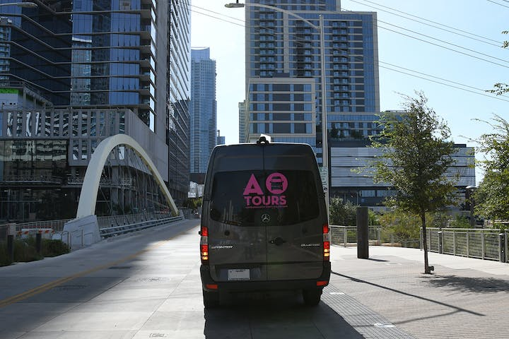 Rear view of AO Tours van