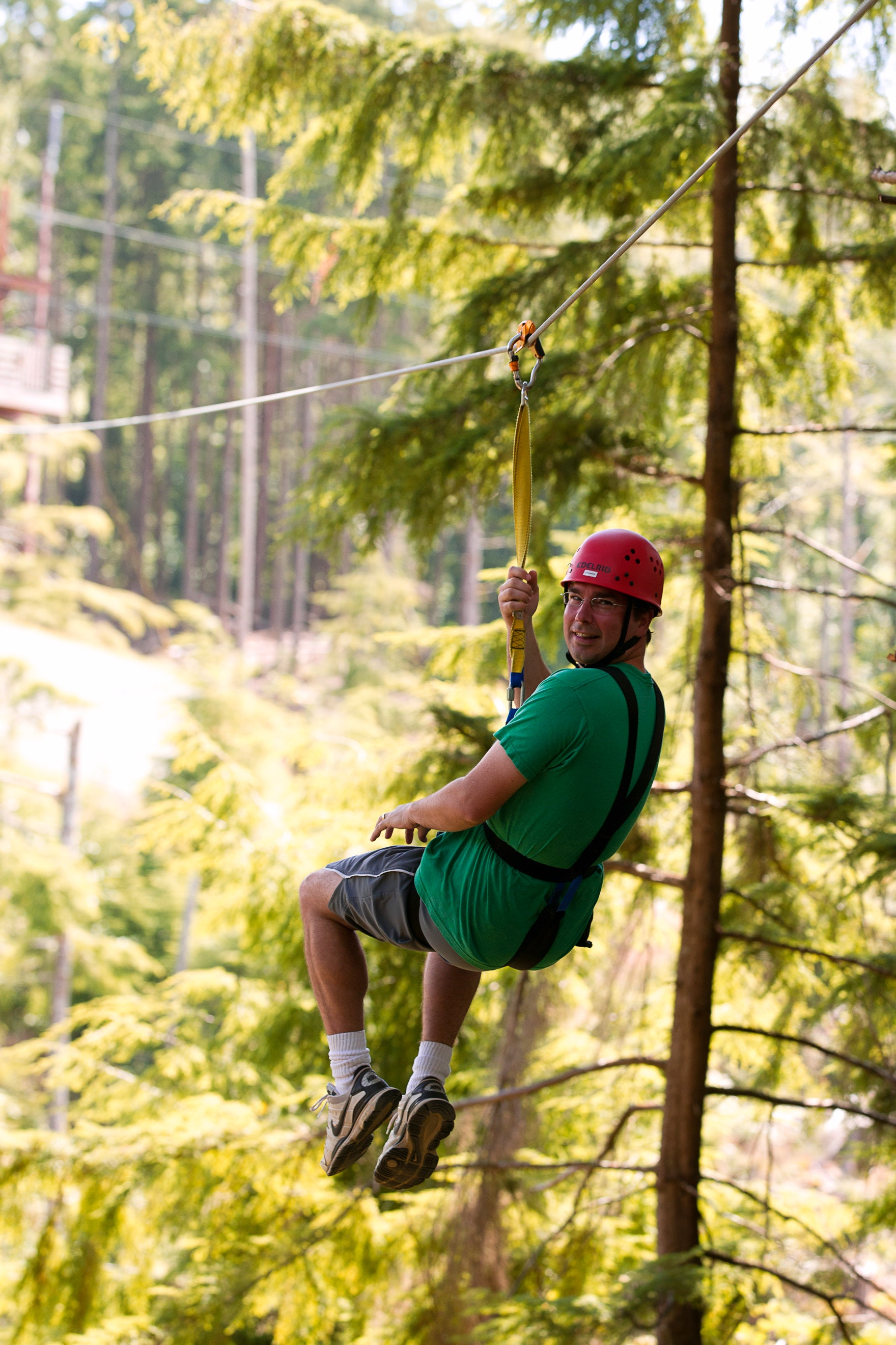 A man on a High Life Adventures zip line