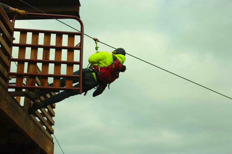 Dale jumps off a ziplining platform
